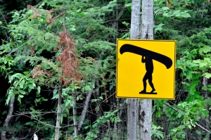 Launch ramp: canoe sign in the woods.