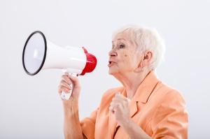 Grandma with megaphone
