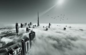Dubai skyline in fog