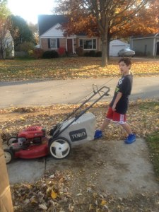 E mowing lawn