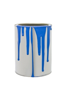 Paint Can with Blue spill isolated on white background