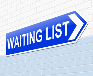 Illustration depicting a sign with a waiting list concept.