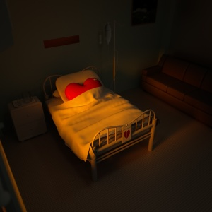 3d concept heart hospital bed in the room.