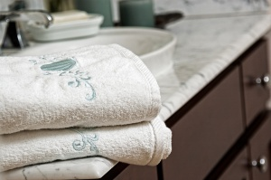 Bathroom towels on vanity