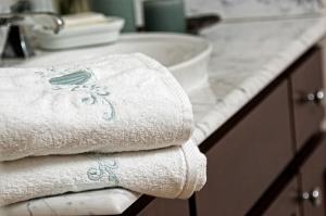 Bathroom towels on vanity