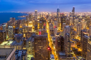 Aerial Chicago downtown skyline at night