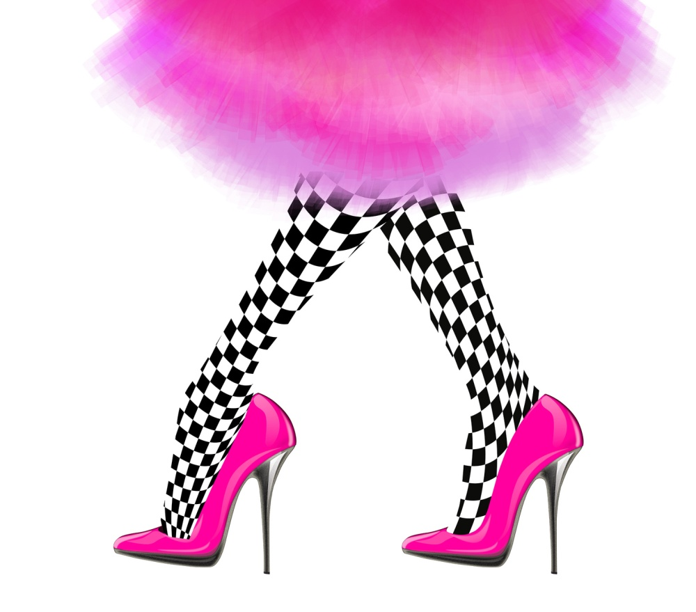 woman leg with pink high heel shoes and vintage skirt